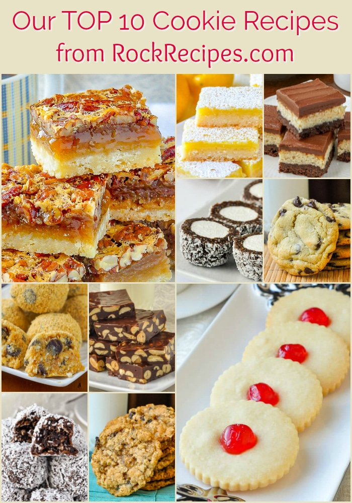 Rock Recipes TOP TEN Cookie Recipes photo collage with title text for Pinterest