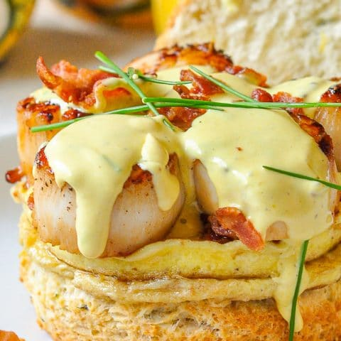 Scallops Benedict with Brown Butter Hollandaise on Chive Buttermilk Biscuits