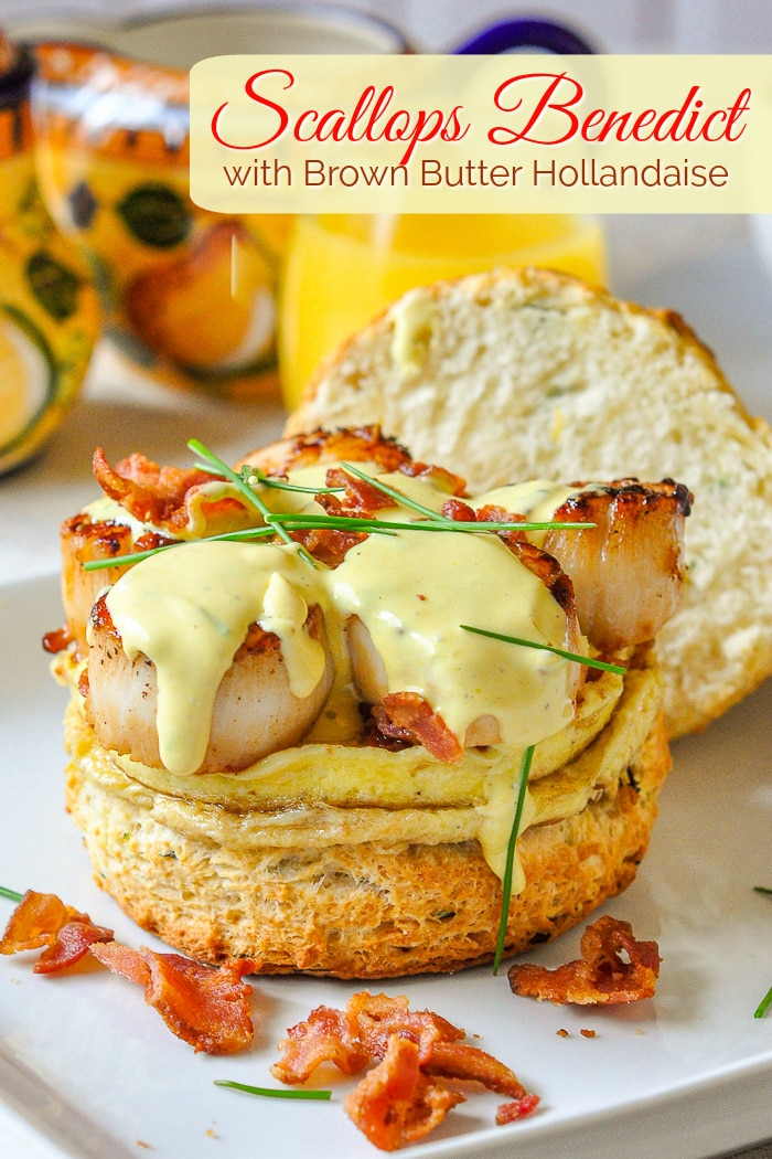 Scallops Benedict photo with title text for Pinterest