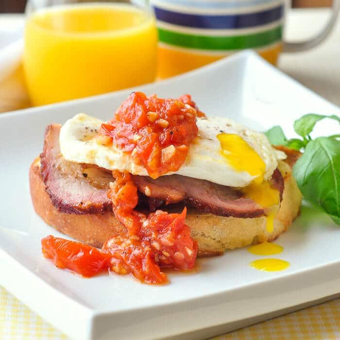 Smoked Pork Loin Open Face Breakfast Sandwich