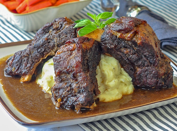 St. John's Stout Braised Beef Ribs with mashed potatoes
