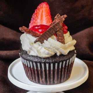 Strawberry Black Forest Cupcakes close up photo of a single cupcake