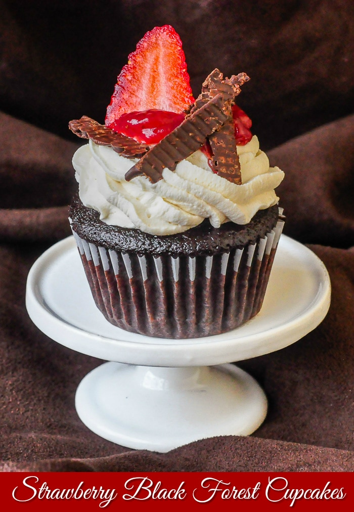 Strawberry Black Forest Cupcakes photo of a single cupcake with title text added for Pinterest