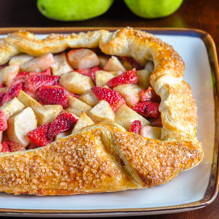 Strawberry Pear Galette, so quick and easy to make using frozen puff pastry.