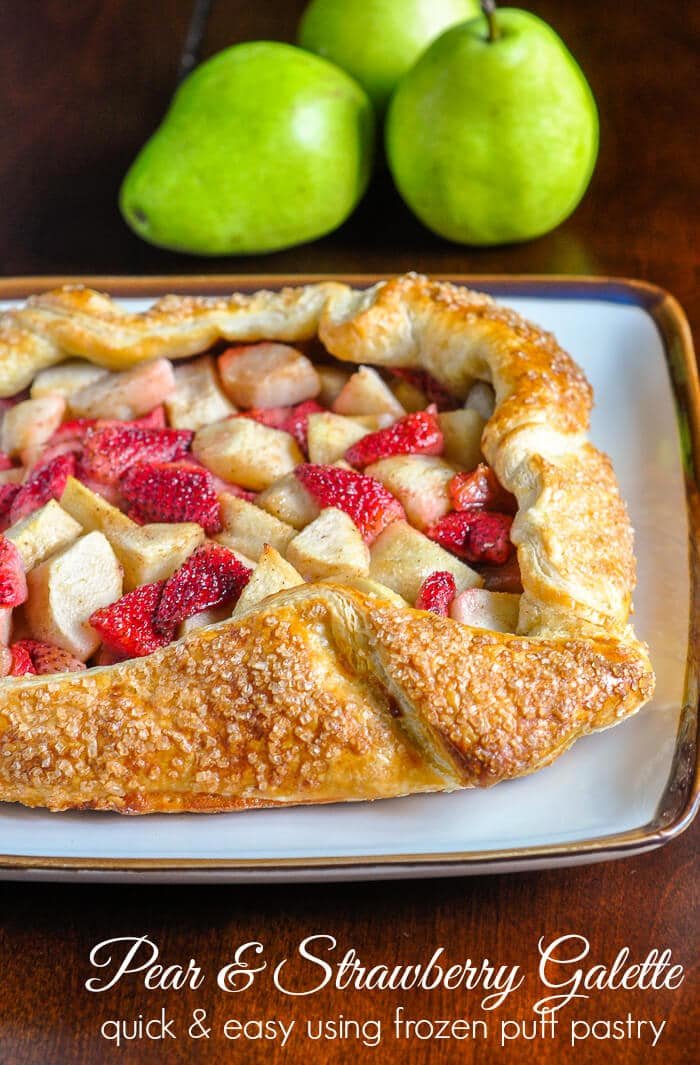 Strawberry Pear Galette. A quick & easy last dessert idea that's made even easier with frozen puff pastry. Switch the combination of fruits and berries for any combination you like.
