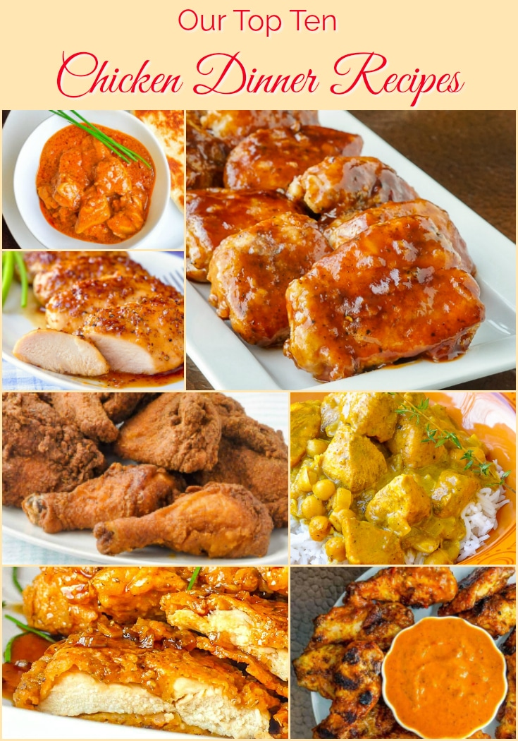 Top Ten Chicken Dinner Recipes collage with title text for Pinterest