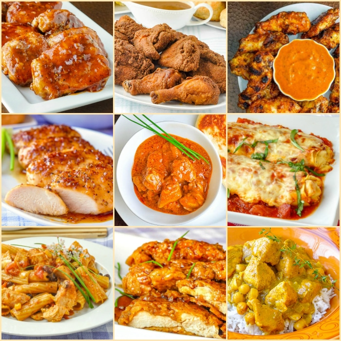 Top Ten Chicken Dinner Recipes 2020 square collage for featured post image