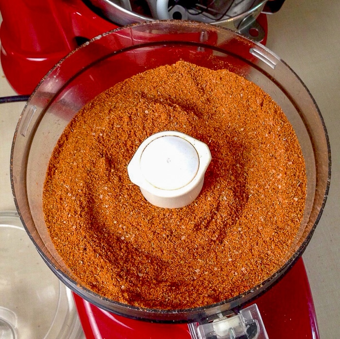 Smokin' Summer Spice Dry Rub after being mixed in a food processor to blend it thoroughly