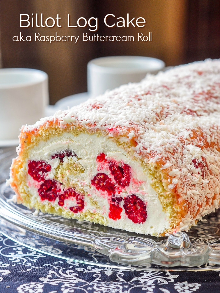 Billot Log Cake photo with title text added for Pinterest