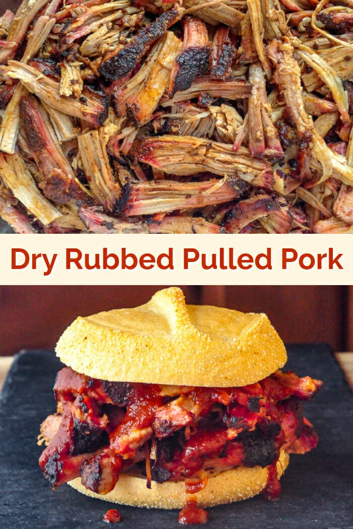 Dry Rubbed Pork Shoulder image with title text added for Pinterest
