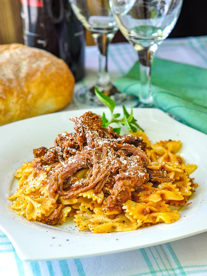 Leftover Bolognese Pot Roast and pasta