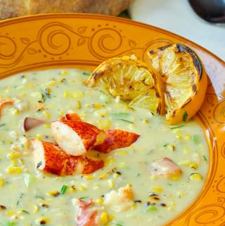 Lobster Chowder with Grilled Corn & Grilled Lemon