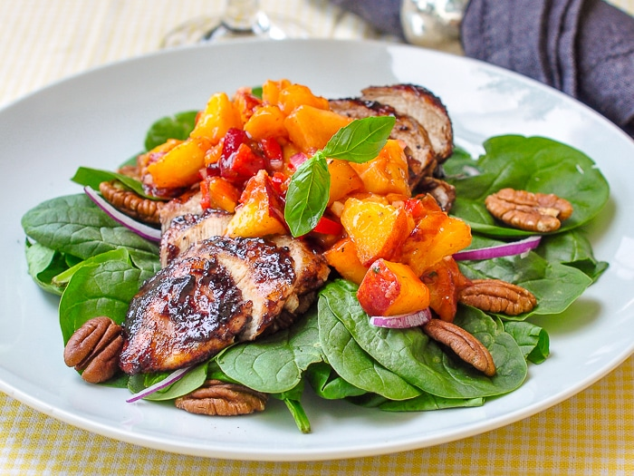 Peach Basil Salsa on Blueberry BBQ chicken breast