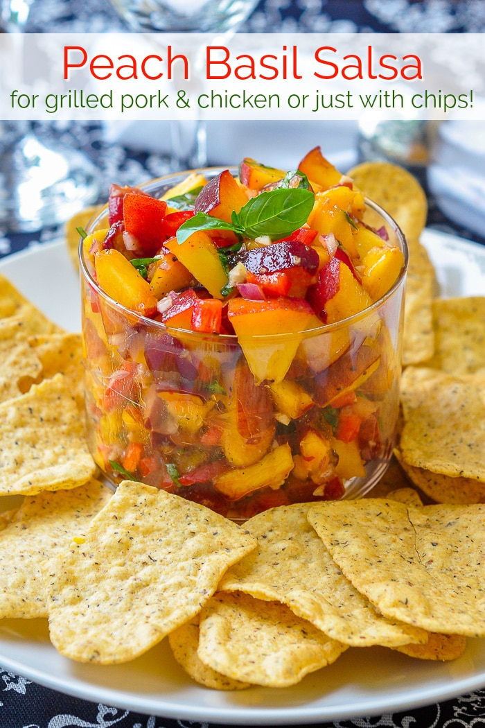 Peach Basil Salsa photo with title text for Pinterest