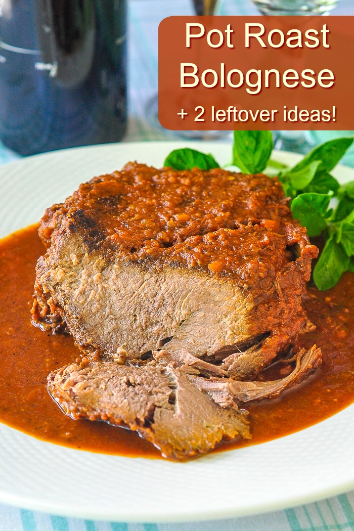 Pot Roast Bolognese photo with title text for Pinterest