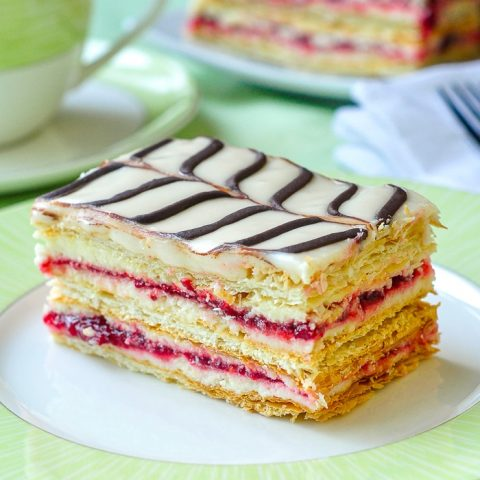 Raspberry Buttercream Mille Feuille close up square cropped featured image