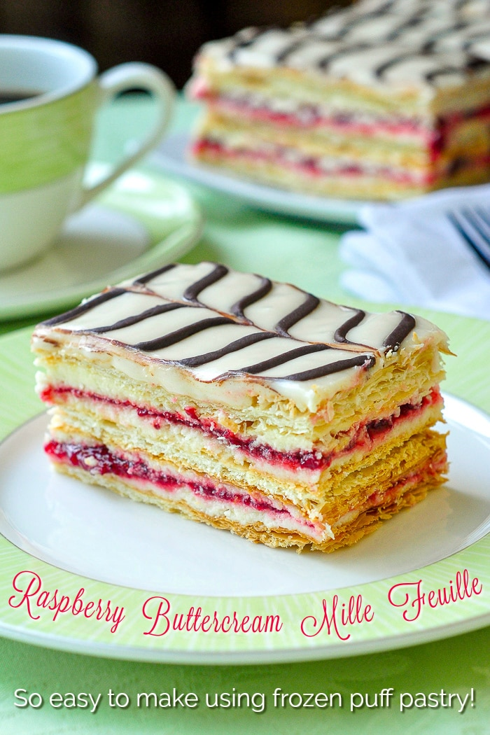 Raspberry Buttercream Mille Feuille photo of a single serving on a green plate with title text added for Pinterest