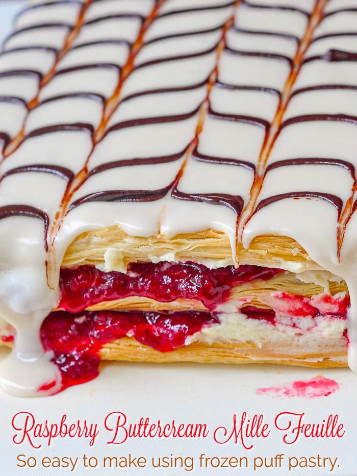 Raspberry Buttercream Mille Feuille photo of uncut pastries with title text added for Pinterest