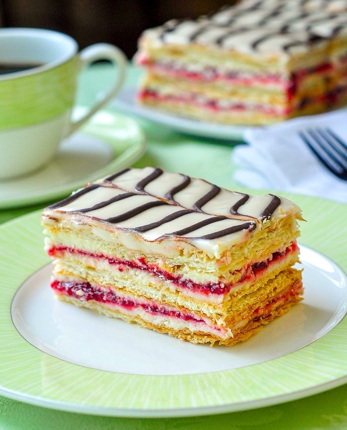 Raspberry Buttercream Mille Feuille with coffee in background