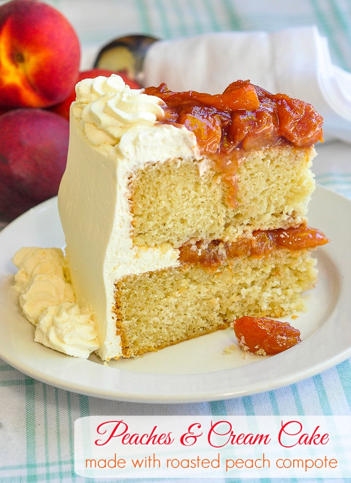 Roasted Peaches and Cream Cake photo of a single slice with title text added for Pinterest