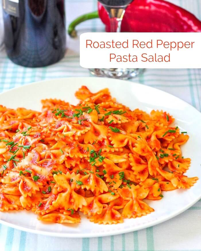 Roasted Red Pepper Pasta Salad. Serve it hot or cold!