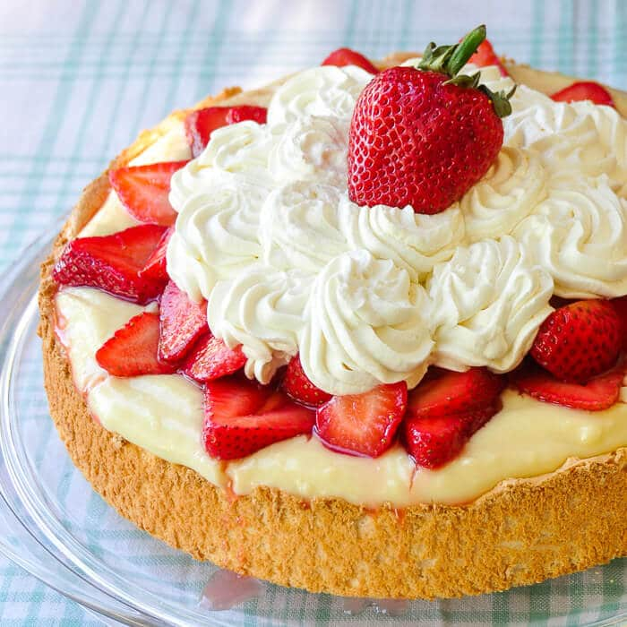 Strawberry Custard Angel Food Shortcake