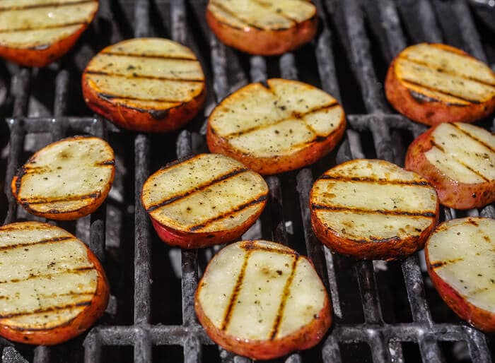 Grilling parboiled potatoes for warm potato salad.