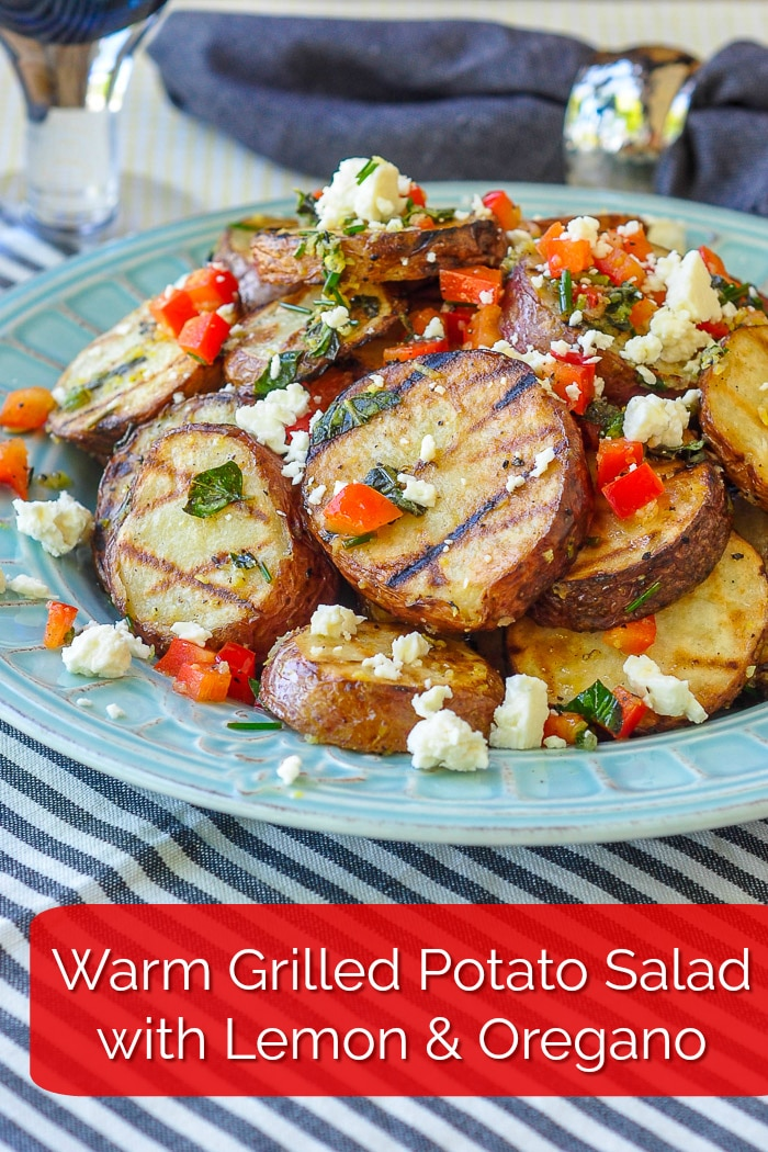 Warm Grilled Potato Salad with lemon and oregano. Image with text for Pinterest.
