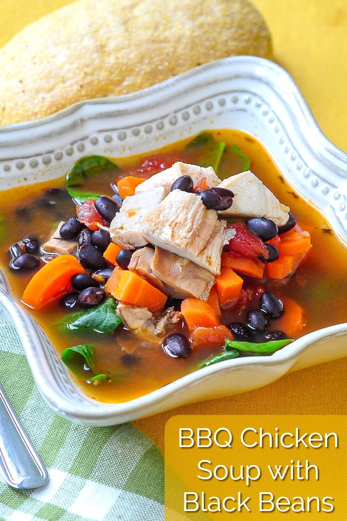 Barbecue Chicken Soup with black beans photo with title text added for Pinterest