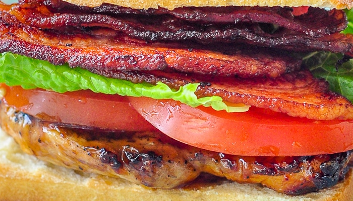 Brown Sugar Balsamic Glazed Chicken close up photo of club sandwich filling