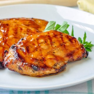 Brown Sugar Balsamic Glazed Chicken close up photo on white plate
