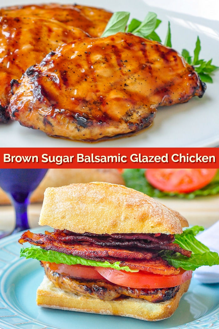 Brown Sugar Balsamic Glazed Chicken photo collage for Pinterest