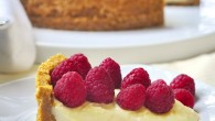 Old Fashioned Vanilla Custard Pie with Raspberries