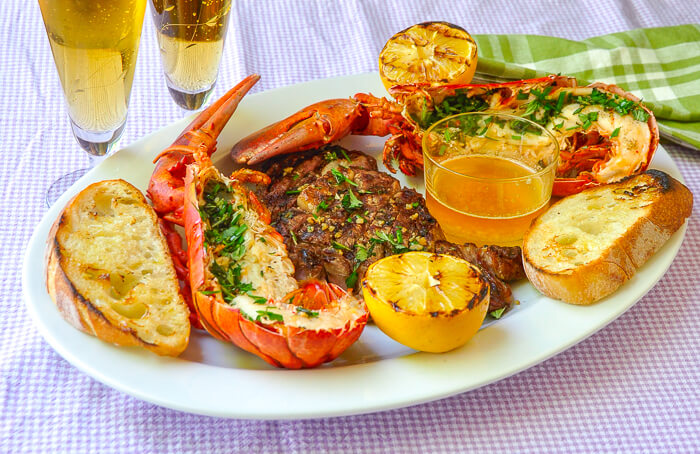 Grilled Lobster Surf n Turf with Lemon Garlic Brown Butter