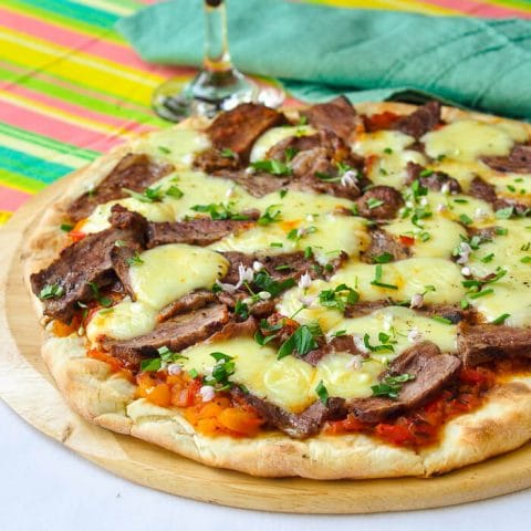 Grilled Taco Pizza - using leftover Mexican Spiced Steal & Sweet Pepper Salsa.