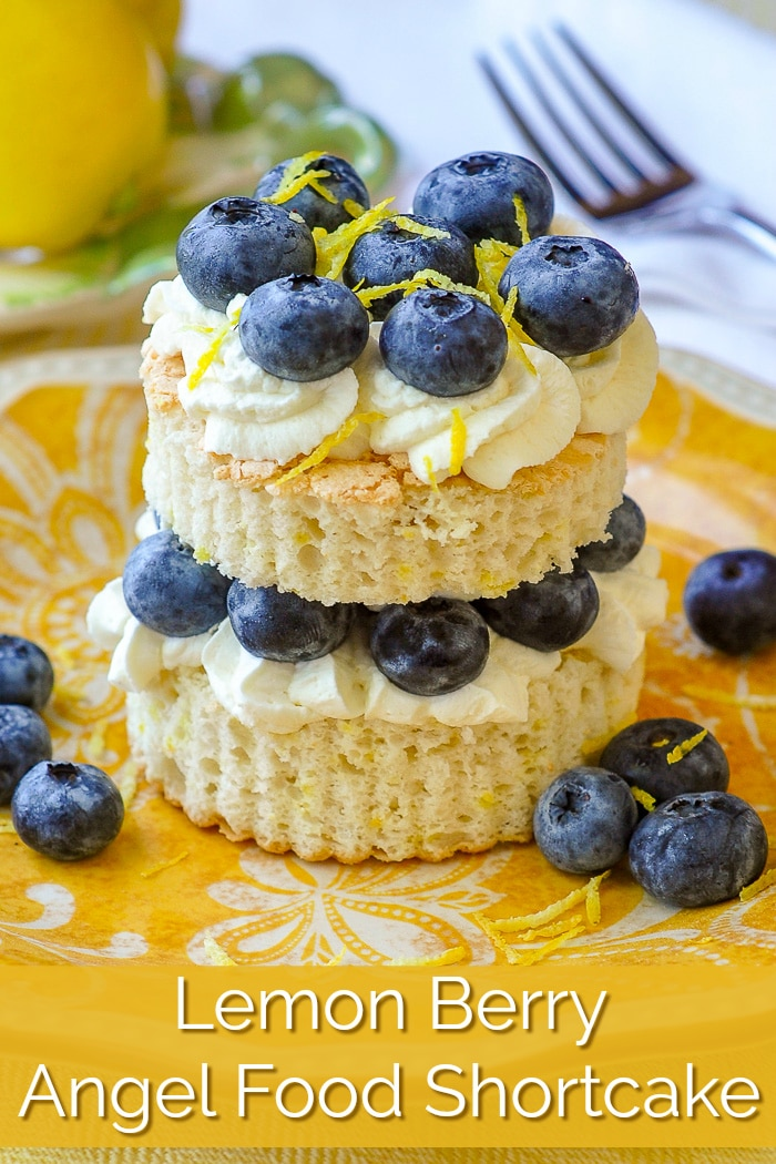 Lemon Berry Angel Food Shortcake image with title text for Pinterest