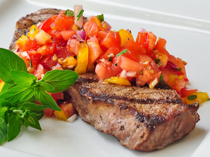 Mexican Spiced Steak with Sweet Pepper Salsa. Use it for tacos and grilled pizza too!