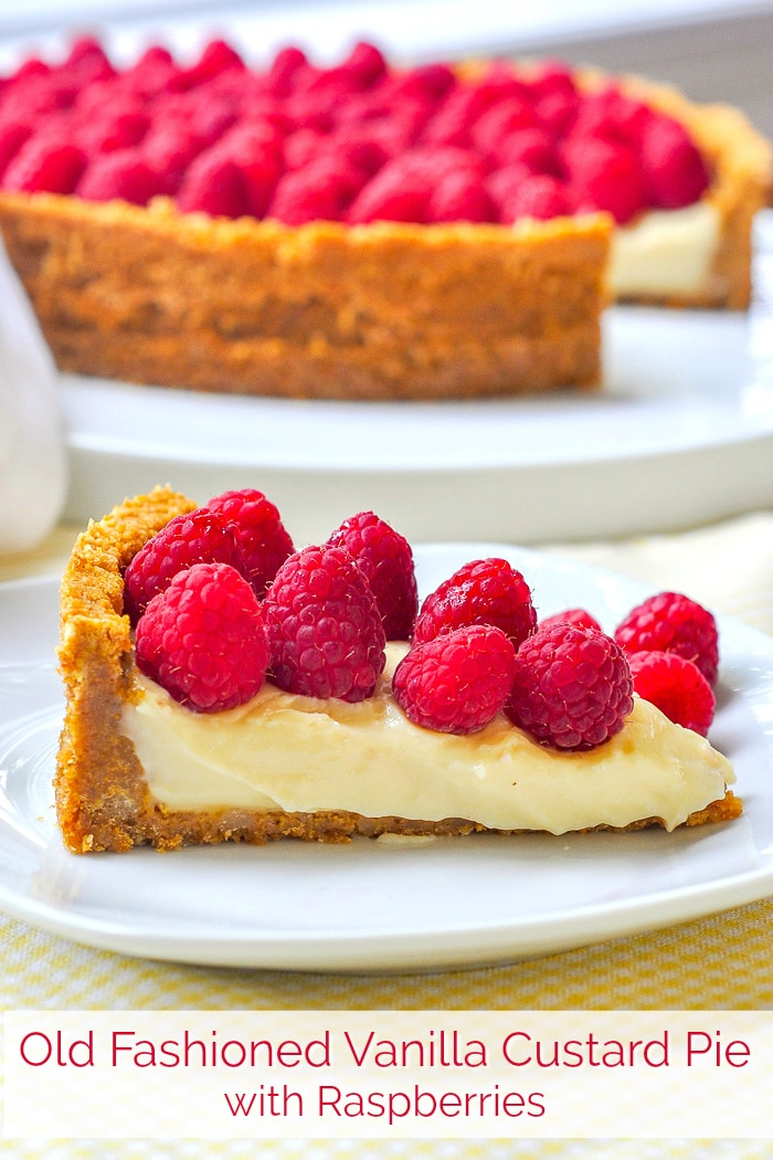 Old Fashioned Vanilla Custard Pie photo with title text for Pinterest