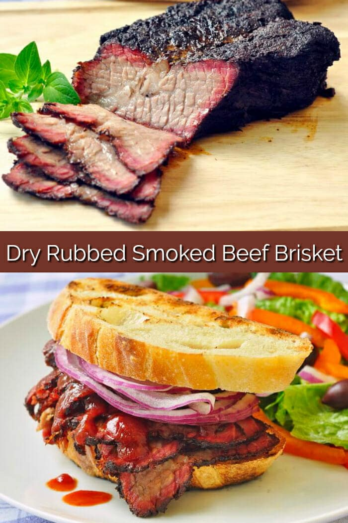 Smoked Beef Brisket collage for Pinterest with title text included