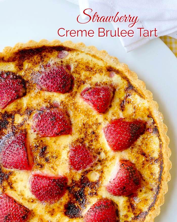 Strawberry Creme Brulee Tart image with Title Text
