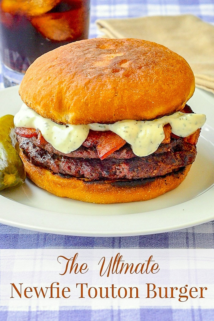 The Ultimate Newfie Touton Burger image with title text for Pinterest