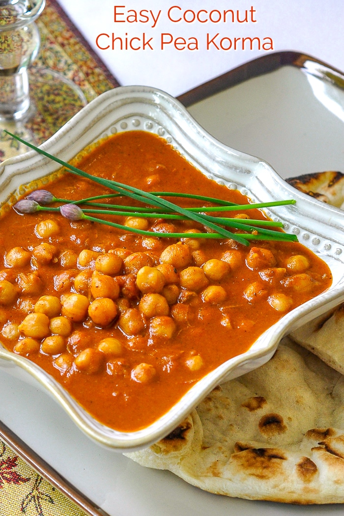 Easy Coconut Chick Pea Korma photo with title text for Pinterest