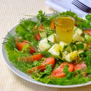 Lemon Herb Garden Salad featuring Lemon Honey Salad Dressing close up featured image