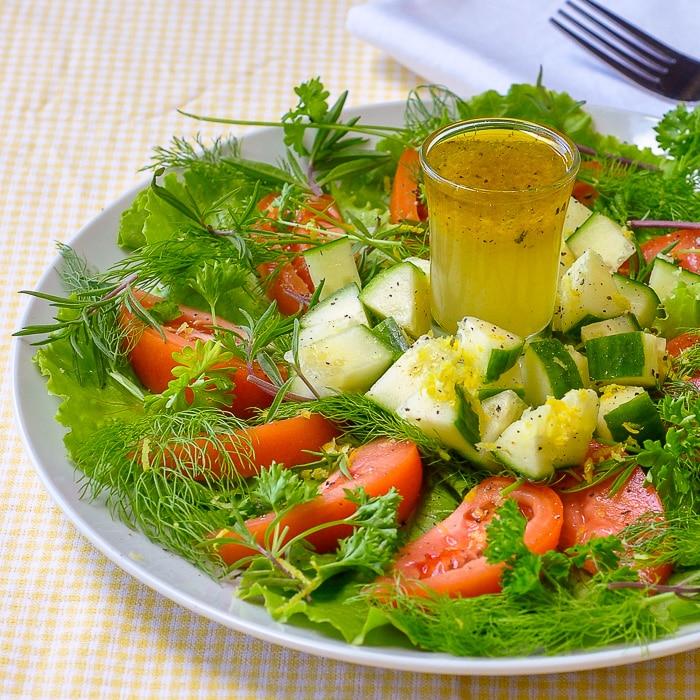 Lemon Herb Garden Salad featuring Lemon Honey Salad Dressing close up featured image