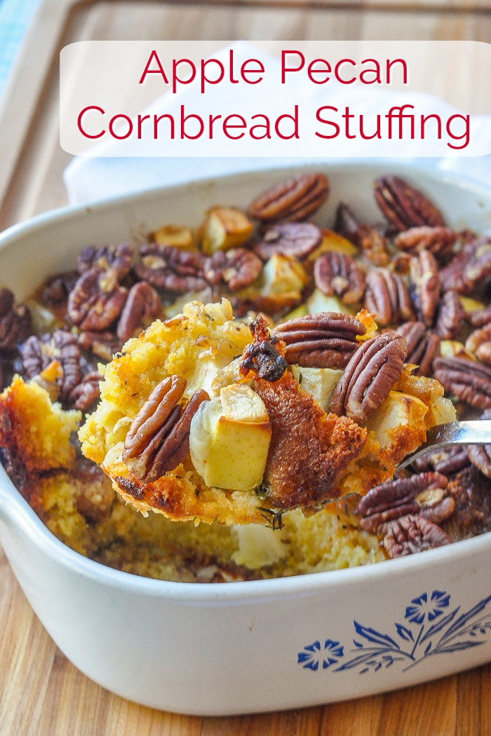 Apple Pecan Cornbread Stuffing photo with title text for Pinterest