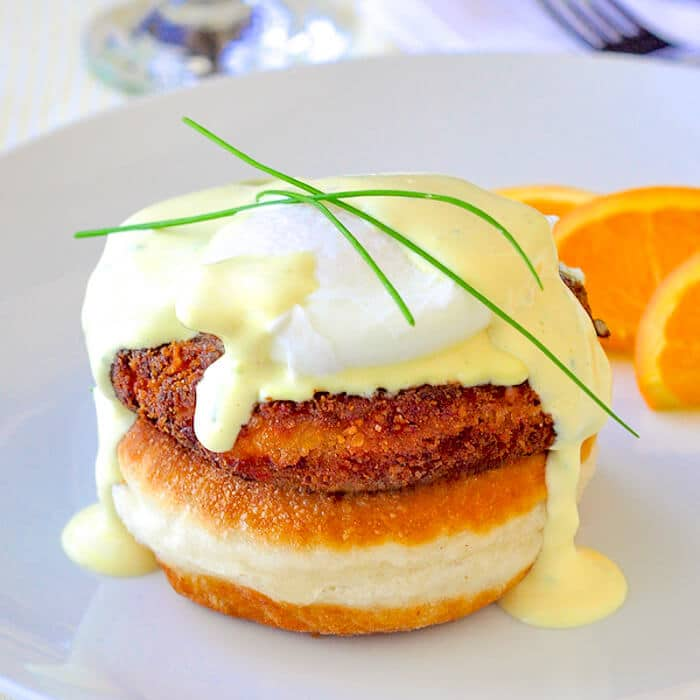 Crab Cakes Eggs Benedict on toutons