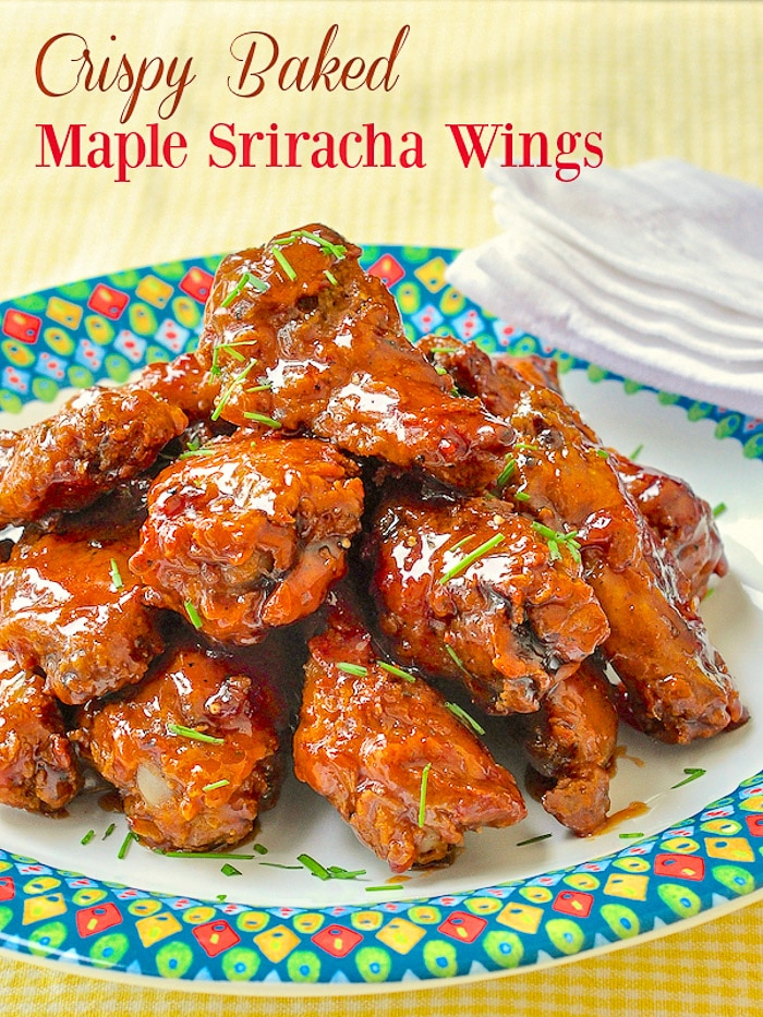 Crispy Baked Maple Sriracha Wings image with title text for Pinterest