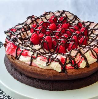 Gluten Free Chocolate Souffle Cake with Raspberry Fool