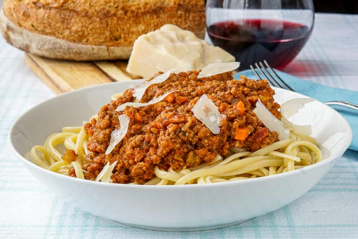 The Best Bolognese Sauce in bowl with linguine.