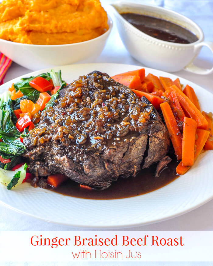 Ginger Braised Beef Roast with Hoisin Jus photo with text for Pinterest